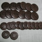 Set of 24 Vintage Plastic Imitation Wood Buttons