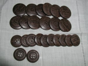 Set of 24 Vintage Plastic Imitation Wood Buttons
