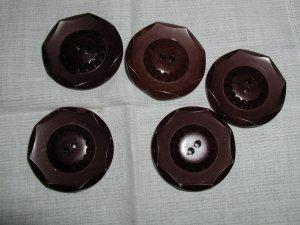 Set of 5 Vintage Big Plastic Coat Buttons