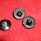 Faceted Black Glass Buttons 3 Matching
