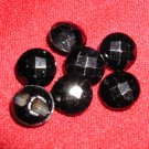 7 Faceted Black Glass Buttons Matching