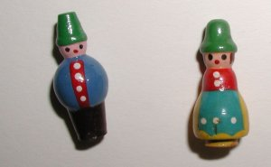Pair of Novelty Turned Wood Boy & Girl Buttons 1950s Made in Japan