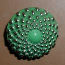 Green 1950s Czech Glass Button 3/4""