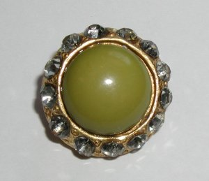 """Pea Green and Rhinestone Couturier Designer Button 13/16"""" Vintage"""