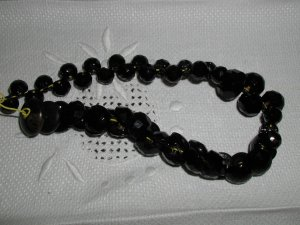 Victorian Black Glass faceted button charmstring