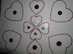 Vintage Ruby Red  Cranberry Valentine Button Collection