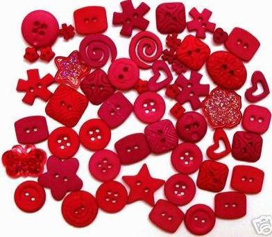RED scrapbooking buttons by Dress It Up/ Jesse James (lot# 001)