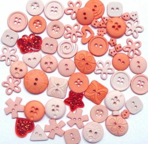 PEACH scrapbooking buttons by Dress It Up/ Jesse James (lot# 004)