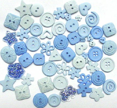 LIGHT BLUE scrapbooking buttons by Dress It Up/ Jesse James (lot# 007)