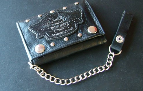 Trifold Black Leather with chain; bikers and truckers
