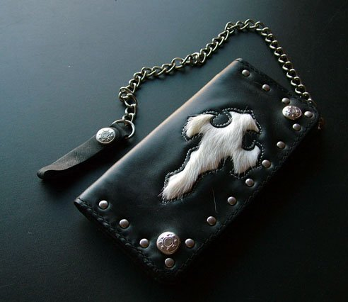 Black Wallet with white fur inlay and chain