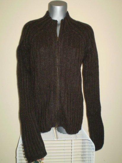 100% Wool Gray Ribbed Zipper Cardigan Sweater