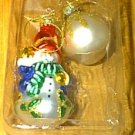 2 Blown Glass Christmas Ornaments Snowman & Ball NEW