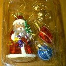 4 Blown Glass Christmas Ornaments Santa & Balls NEW