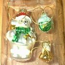Glass White Bear 2 Tiny Ball Charm Christmas Ornaments