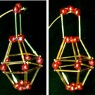 Christmas Ornament Glass Garland Beads & Tubes Red Cage