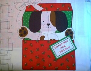 Christmas Puppy Stuffed Preprinted Fabric Panel You Sew