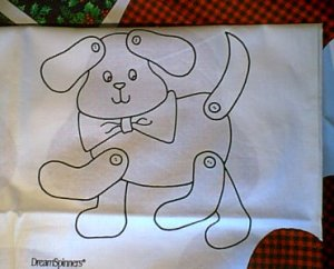 Puppy for Christmas Preprinted Fabric Panel Toy You Sew