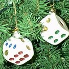 2 Dice White Glass Glitter Dot Christmas Ornaments Pair