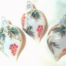 3 Glitter Painted Delicate Glass Drop Ornaments.