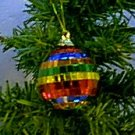 3 Multicolor Mirrored Christmas Ball Ornaments 2'' New