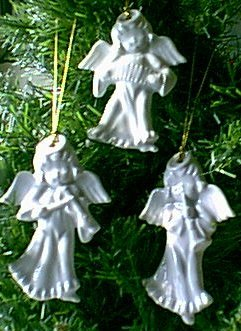 3 White Ceramic Angels w Instruments Bloomingdales