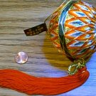 Wrapped Ball w Red Tassle Gold Glittery Christmas Ornament