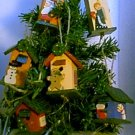 Set of 6 Wooden Birdhouse Christmas Holiday Ornaments
