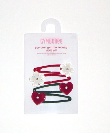 GYMBOREE NWT Mountain Cabin Heart/Flower Hair Clips