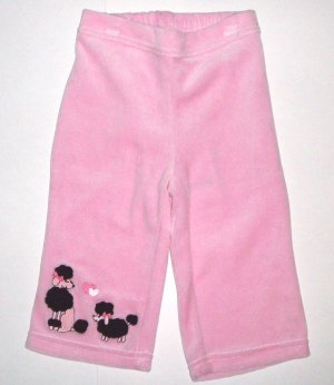 GYMBOREE NWT Tres Chic Pink Velour Pants 6-12m