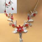 Red and White Crystal flower necklace set for prom pageant bridal