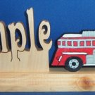 Handcrafted Wooden Name w/FREE Fire Truck Motor