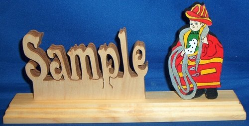 Handcrafted Wooden Name w/FREE Firefighter Toddler in Dad's Bunker Gear