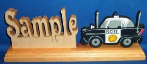 Handcrafted Wooden Name w/FREE Police Car