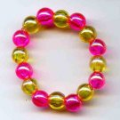 Iridescent Fushia and Yellow Dog (or Cat) Bracelet