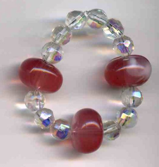 Beautiful Dog (or Cat) bracelet with Clear and Pink beads