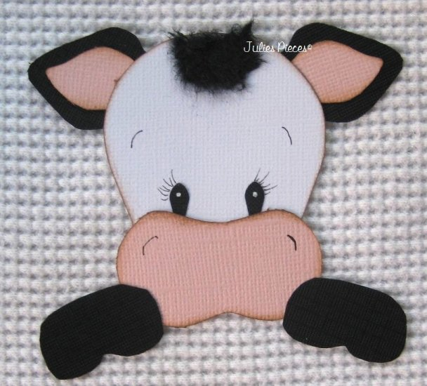 HANDMADE paper piecing cow for scrapbooking