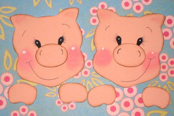 2 HANDMADE paper piecing pigs for scrapbooking