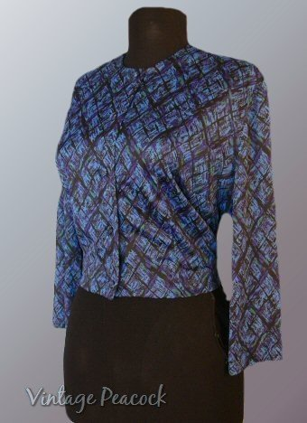 Vintage 40s Blue Abstract Nylon Jersey Bolero Jacket L