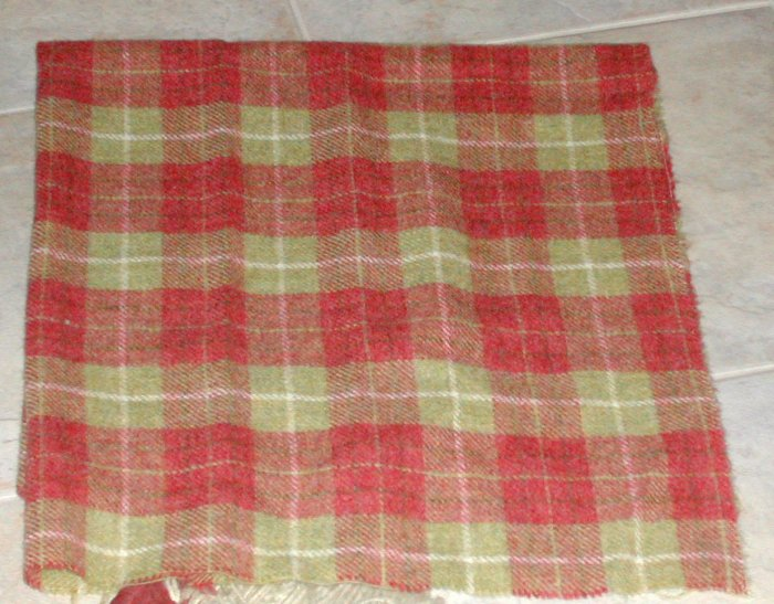 STRAWBERRY/GREEN PLAID as is wool for rug hooking -- Woolly Mammoth Woolens