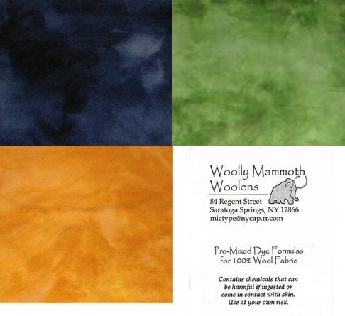 3 Pre-mixed Dye Formula Packets For Rug Hooking -- Woolly Mammoth Woolens