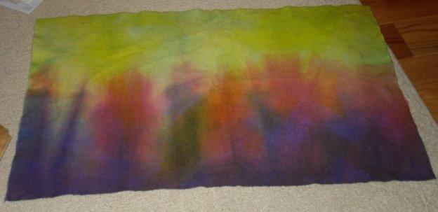 GREEN/PURPLE/RED dip dye wool penny rug hooking -- Woolly Mammoth Woolens