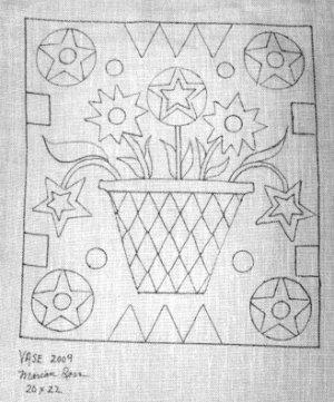 VASE OF FLOWERS pattern for rug hooking -- Woolly Mammoth Woolens