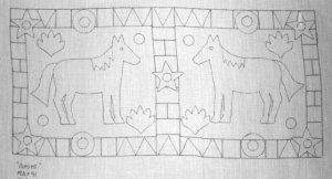 HORSES rug hooking pattern -- Woolly Mammoth Woolens