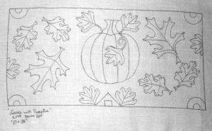 LEAVES WITH PUMPKINS rug hooking pattern -- Woolly Mammoth Woolens