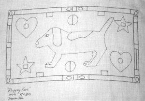 PUPPY LOVE rug hooking pattern -- Woolly Mammoth Woolens