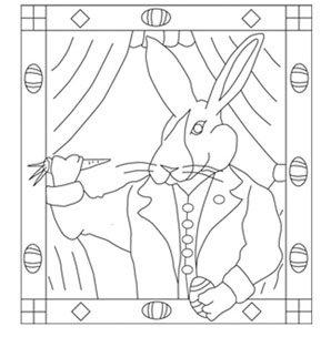 EASTER RABBIT rug hooking pattern -- Woolly Mammoth Woolens