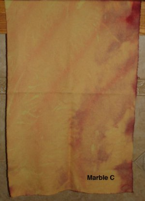 MARBLEIZED WOOL (yellow and wine) for rug hooking and penny rugs -- Woolly Mammoth Woolens