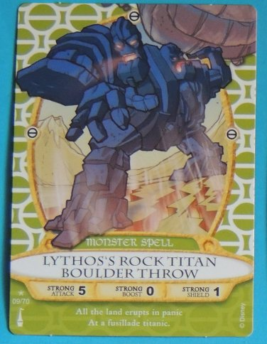 SORCERERS OF THE MAGIC KINGDOM Disney Spell Card LYTHOS'S ROCK TITAN BOULDER THROW #9 FREE SHIPPING