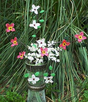 Beaded Flower Arrangement - Pink and White Dogwoods